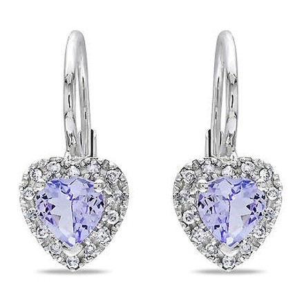 Other Sterling Silver 17 Ct Diamond Tw And 45 Ct Tgw Tanzanite Heart Earrings Gh I3