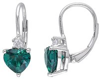 Other 2 15 Ct Tgw Emerald White Sapphire Heart Love Leverback Earrings Silver