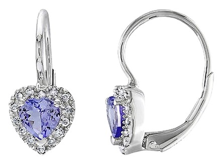 Other 10k White Gold 17 Ct Diamond Tw And 45 Ct Tanzanite Heart Earrings Gh I2i3