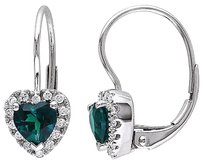 Other 10k White Gold 17 Ct Diamond Tw And 45 Ct Tgw Emerald Heart Earrings Gh I2i3