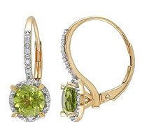 Other 10k Yellow Gold Peridot And Diamond Accent Leverback Earrings