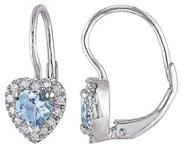 Sterling Silver 17 Ct Diamond And 34 Ct Aquamarine Heart Earrings Gh I2i3