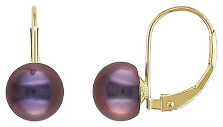 Other 10ky Leverback Earrings W 7-7.5mm Black Freshwater Button Pearls