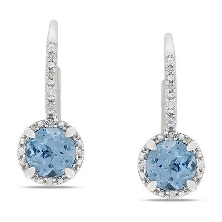 Other Sterling Silver Diamond And 2 Ct Tgw Blue Topaz - Sky Leverback Earrings Gh I3