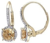 Other 10k Yellow Gold 1 12ct Tgw Citrine And Diamond Accent Dangle Leverback Earrings