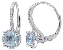 10k White Gold Diamond And 2 Ct Sky Blue Topaz Leverback Earrings Gh I2i3