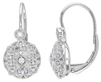 Other 14k White Gold 18 Ct Diamond Tw Geometric Leverback Earrings Gh I1i2