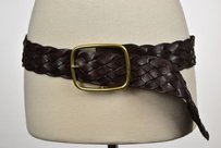 Linea Pelle Collection Womens Brown Woven Wide Belt Casual Leather
