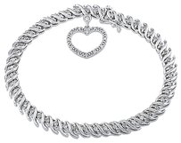 Sterling Silver 1 Ct Diamond Gh I2i3 Heart Love 7 Bracelet