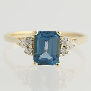 London Blue Topaz Cubic Zirconia Ring - 14k Yellow Gold Womens 1.98ctw