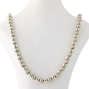 Long Chunky Beaded Silver Necklace Sterling Brushed Polished Plunger Clasp 28.5