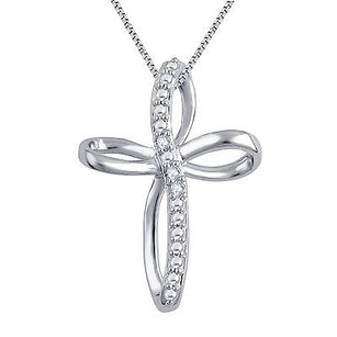 Loop Style Cross Pendant Necklace Diamond Accents In White Gold Plated Brass