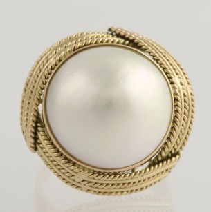Mabe Pearl Cocktail Ring - 14k Yellow Gold 17mm Womens 14 June Gift