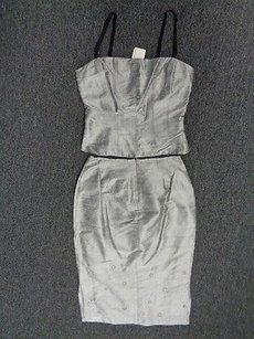 Made In Heaven Silver Textured Embellished Tank Top Skirt Suit Sma4823