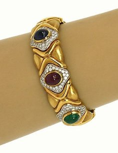Other Magnificent 18k Ygold 9.50ctw Diamond Sapphire Rubies Emerald Cuff Bracelet