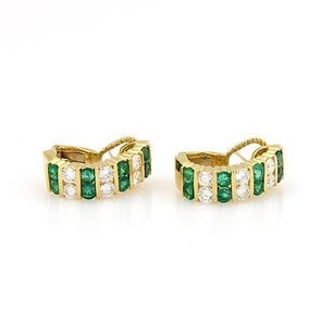 Magnificent 18kt Yellow Gold 5.40tcw Diamond Emerald Semi Hoop Earrings