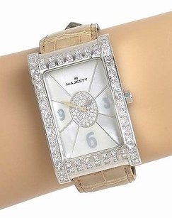 Majesty 18k White Gold 6.75ctw Diamond Mother Of Pearl Dial Ladies Wrist Watch