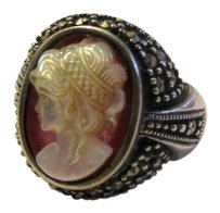 Other .925 Sterling Silver Marcasite Faux Cameo Ring Size 7