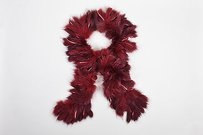 Maroon Red Mottled Fur Fringe Long Thin Rope Scarf