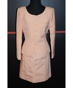 Mary Mcfadden Couture For Saks Peach Skirt Suit Silk 5935