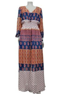 Multi-Color Maxi Dress by Other West Main Bohemian Bold Print Maxi Long Sleeve