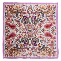 Medium Square Silk Scarf Twill - Pink Paisley Pattern Scarf, Digitally Painted with Hand Rolled Hem - 21