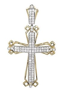 Other Men Or Ladies 14k Yellow Gold Pave Genuine Diamond Cross Charm Pendant 1ct. 2.0