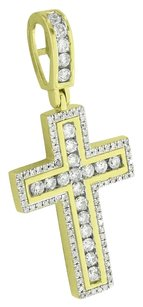 Mens 10k Gold Cross Pendant Round Cut Genuine Diamonds Channel Set Jesus Piece