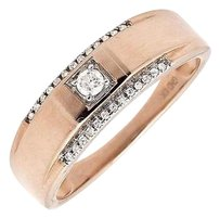 Mens 10k Rose Gold Solitaire Accent Diamond 6mm Wedding Ring Band 0.25ct.