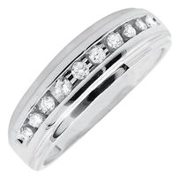 Mens 10k White Gold 1 Row Channel Set Genuine Diamond Wedding Ring Band 0.25ct