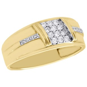 Mens 10k Yellow Gold Diamond Engagement Wedding Band 8.50mm Pave Ring 0.26 Ct.