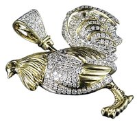 Mens 10k Yellow Gold Genuine Diamonds Hen Rooster Toon Charm Pendant 1.50 Ct