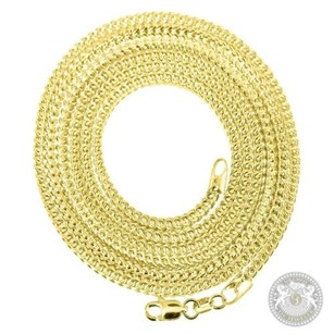 Mens 10k Yellow Gold Hollow Franco Diamond Cut Hook Chain Necklace 32 2mm