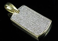 Mens 10k Yellow Gold Iced Out Diamond Dogtag Fine Pendant 0.75 Ct 1.2 Inches