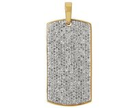 Mens 10k Yellow Gold Iced Out Diamond Dogtag Fine Pendant 1.5 Ct 1.2 Inches