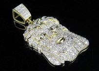 Mens 10k Yellow Gold Jesus Face Head Piece Rope Crown 1.25 Ct Diamond Pendant