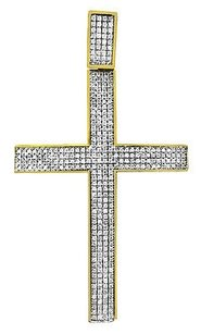 Mens 10k Yellow Gold Pave Set Genuine Diamond Cross Charm Pendant 2.16 1.20ct