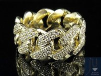 Other Mens 10k Yellow Gold Real Diamond Miami Cuban Eternity Ring Band 2.50ct 11mm