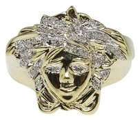 Mens 10k Yellow Gold Round Cut Pave Medusa Diamond Designer Fashion Ring 13 Ct