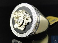 Mens 10k Yellow Gold Round Cut Pave Medusa Diamond Designer Pinky Ring .65 Ct