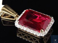 Mens 10k Yellow Gold Royal Red Gemstone Genuine Diamond Pendant Charm 1.0ct.