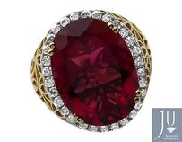Mens 10k Yellow Gold Royal Red Lab Ruby Genuine Diamond Ring 1.0ct 23mm