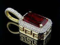Other Mens 10k Yellow Gold Simulated Ruby Genuine Diamond Pendant 1.1 Inch 0.60 Ct