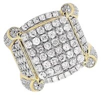 Other Mens 10k Yellow Gold Square Puff Claw Genuine Diamond Statement Pinky Ring 4ct