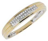 Mens 10k Yellow Gold Two Rows Genuine Diamonds 4.5mm Band Wedding Ring 0.15ct.
