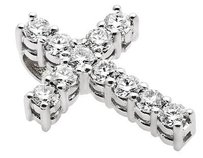 Mens 14k White Gold Genuine Diamond Hidden Bail Cross Pendant Charm 1.5ct