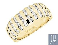 Mens 14k Yellow Gold Channel Set Genuine Diamond Comfort Wedding Band 1.50ct