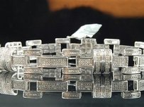 Other Mens 925 Sterling Silver Real Genuine Diamond Bracelet Tennis Designer Link 3ct.