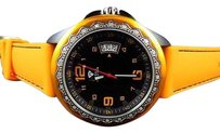 Other Mens Aqua Master Sports Orange Silicon Strap Diamond Watch W337 0.25 Ct
