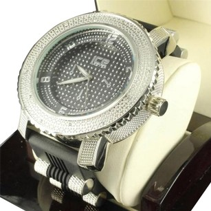 Mens Black Sun Dial White Gold Finish Silicon Bullet Band Ice Master Rodeo Watch
